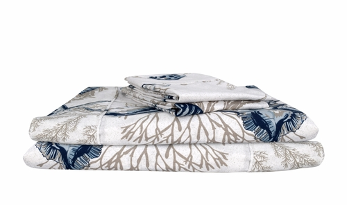 Peach Couture 400 Thread Count Printed Seaworld King Sheet Set