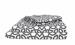 Peach Couture 400 Thread Count Printed Intricate King Sheet Set