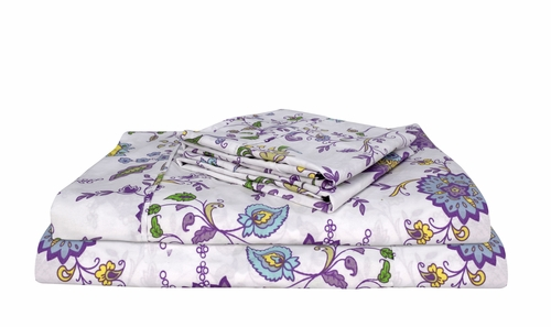 Purple Spring 400 Thread Count Printed Purple Spring Queen Sheet Set