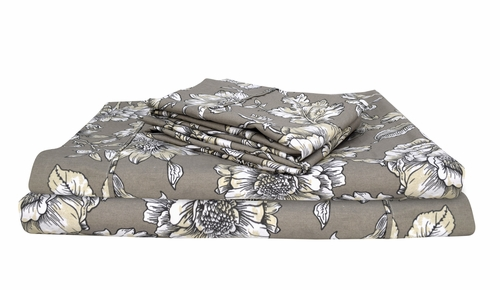 Peach Couture 400 Thread Count Printed Hibiscus King Sheet Set