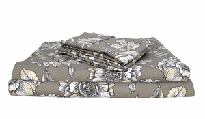 Taupe 400 Thread Count Printed Hibiscus King Sheet Set