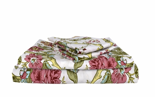 Peach Couture 400 Thread Count Printed Magic Forest Queen Sheet Set