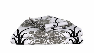Damask Floral 400 Thread Count Printed Damask Floral Queen Sheet Set