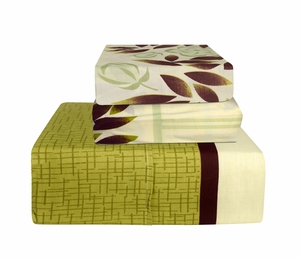 Green Beige 400 Thread Count Printed Sheet Set