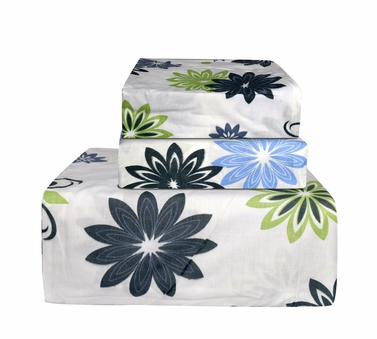 Green & Black 400 Thread Count Printed Flower Sheet Set
