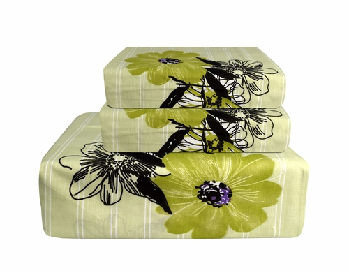 Green 400 Thread Count Printed Flower Sheet Set