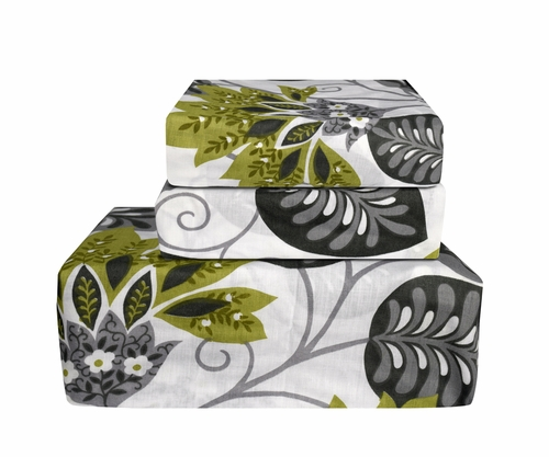 Green Grey 400 Thread Count Printed Sheet Set