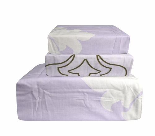 Peach Couture 400 Thread Count Printed Light Lavender Sheet Set