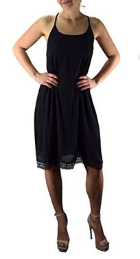 Black A line Scoop Neck Crochet Back Lace Lining Summer Swing Dress