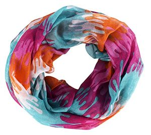 Abstract Artsy Multicolor Paint Splatter Infinity Loop/Scarf/Wrap (Pink, Orange, Mint)