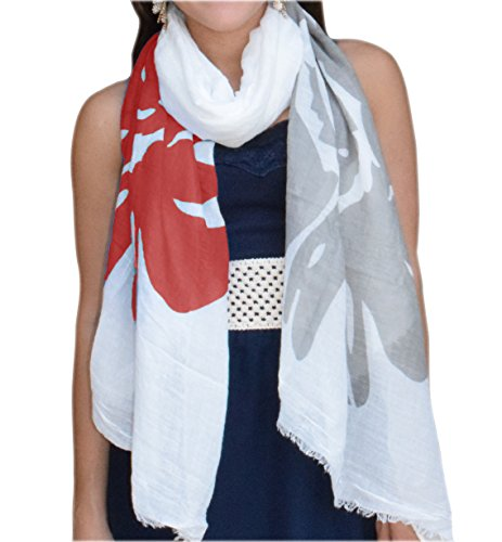 Abstract Nature Tree Flower Printed Lightweight Dual Colored Scarf (Coral Flower)