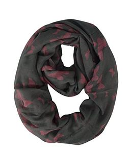 Grey Pink Fashion Butterfly Scarf Infinity Scarf Circle Loop