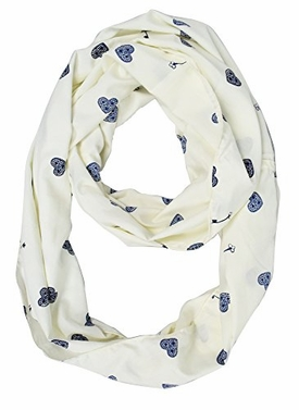 White Aesthetic Peaceful Heart Infinity Scarf Loops