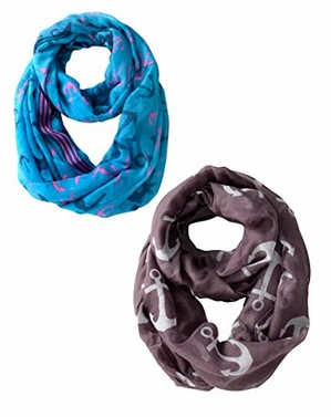 Infinity Loop Scarves Border Anchor Print