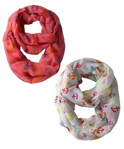 Peach Couture All season Infinity Loop Scarves Rainbow Anchor Print 2 Pack