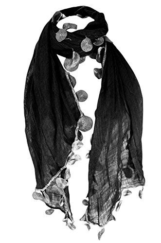 Chic Silk Feel Sheer Textured Scarf W/ Sphere Tassels
