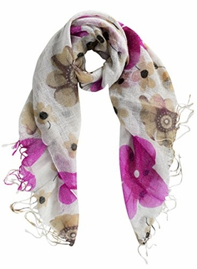 Peach Couture All Seasons Floral Sparkle Lightweight Shimmer Fringe Scarf (Pink Cream)