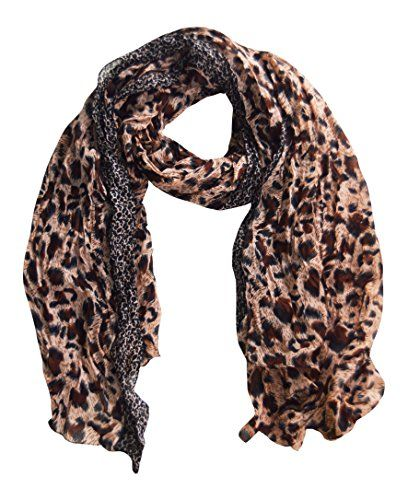 Salmon & Brown Retro Zebra and Leopard Print Crinkle Scarf