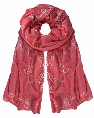 Coral Rose Soft Cloth Floral Embroidered Flower Summer Shawl Scarf Wrap