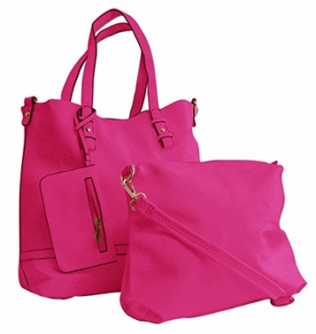 Tote Handbag Three Piece Set Wristlet Wallet & Satchel (Rose)
