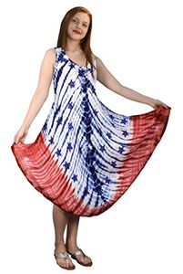 Glitter American Flag Dress Caftan Tank Summer Dress Swimsuit Cover up Tie Dye