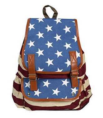 Blue Red White American USA Flag Print College Bookbag Travel Backpack Laptop Bag