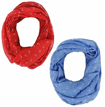 Red Blue Anchor Print Cute Trendy All season Infinity Loop Scarves 2 Pack
