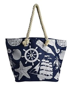 Anchor Print Large Travel Tote Bags Shoulder Bags Handbags (Blue)