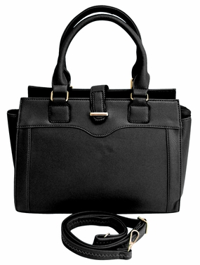 Sleek Stylish Average Sized Tote Zipper Handbag Purse (Black)