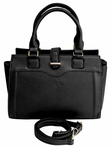 Black Stylish Tote Zipper Handbag Purse
