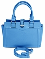Sleek Stylish Average Sized Tote Zipper Handbag Purse (Blue)