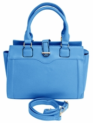 Blue Stylish Tote Zipper Handbag Purse