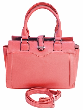 Sleek Stylish Average Sized Tote Zipper Handbag Purse (Pink)