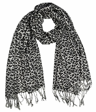 Silver Grey Animal Leopard Print Sheer Scarves Summer Shawls Wraps Fringes