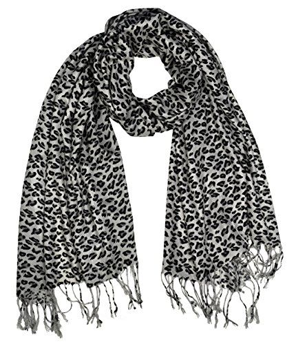 Peach Couture Animal Leopard Print Sheer Scarves Summer Shawls Wraps Fringes (Silver Grey)