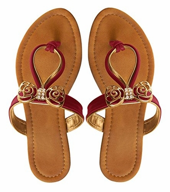 Fuchsia  Artistic Gold Pleated Gem Embellished Summer Thong Sandals 5