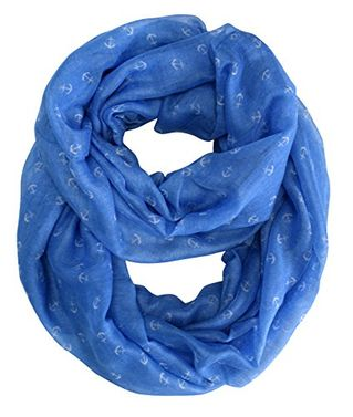 Artsy Nautical Anchor Print Marine Lightweight Infinity Loop Scarf