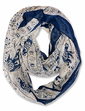 Aztec Tribal Elephant Colored Border Infinity Loop Wrap Scarf (Beige)