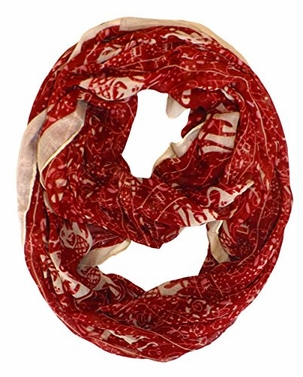 Red Aztec Tribal Elephant Colored Border Infinity Loop Wrap Scarf