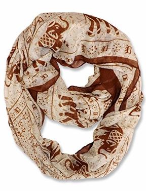 Aztec Tribal Elephant Colored Border Infinity Loop Wrap Scarf (Taupe)