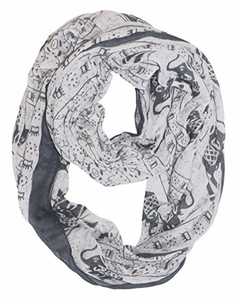 Aztec Tribal Elephant Colored Border Infinity Loop Wrap Scarf  (White/Black)
