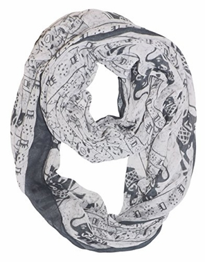 White-Black Aztec Tribal Elephant Colored Border Infinity Loop Wrap Scarf
