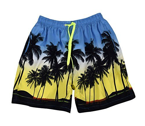 Blue Yellow Beach Board Shorts Water Sports Swimming Surfing Shorts Trunks (XX-Large)