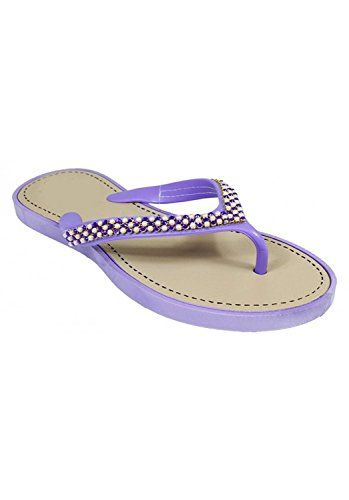 Purple Beaded Pearl Thong Flat Flip Flop Sandals