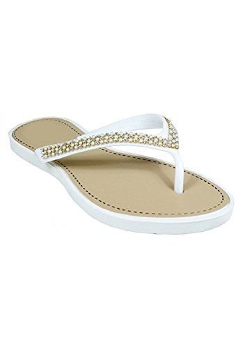 White Beaded Pearl Embellished Thong Flat Flip Flop Sandals 11