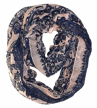 Peach Sunflower Lightweight Paisley Print Infinity Loop Scarf