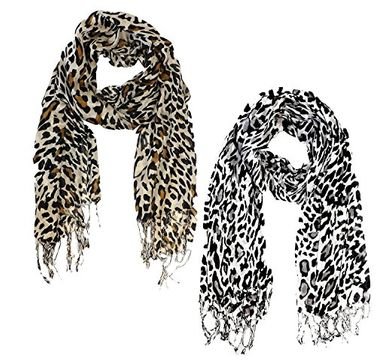 Beautiful Silky Leopard Print Pashmina Shawl Scarves in 2 Pack