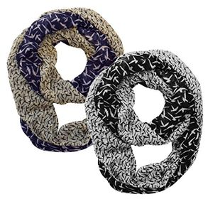 Beautiful Vintage Two Colored Bird Print Infinity Loop Scarf 2 pack (Navy Cream and Black White)