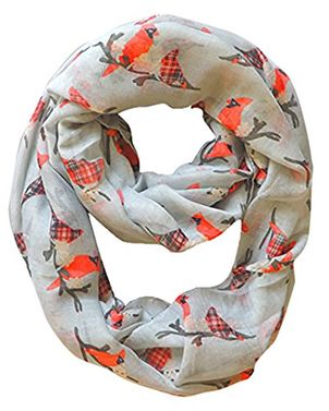 Vintage Two Colored Bird Print Infinity Loop Scarf