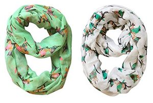 Combo Pack Vintage Two Colored Plaid Bird Print Infinity Loop Scarf in 2 pack